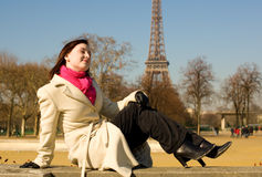 Happy beautiful woman in Paris Royalty Free Stock Image