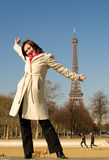 Happy beautiful woman in Paris Royalty Free Stock Images