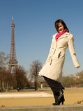 Happy beautiful woman in Paris Royalty Free Stock Photography