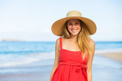 Happy Beautiful Woman in Red Dress Stock Photography