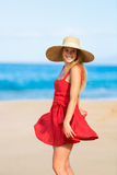 Happy Beautiful Woman in Red Dress Stock Image