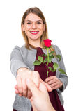 Happy beautiful woman with red rose Stock Image