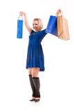 Happy beautiful woman with shopping bags Stock Photography