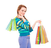 Happy beautiful woman with shopping bags Royalty Free Stock Images