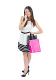 Happy Beautiful  woman with shopping bags cheerful smiling Royalty Free Stock Photography