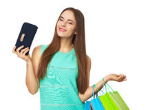 Happy beautiful woman with shopping bags  on white. Royalty Free Stock Photos
