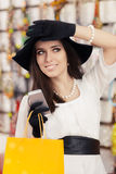 Happy Beautiful Woman with Smartphone at Shopping Stock Photos