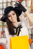 Happy Beautiful Woman with Smartphone at Shopping Royalty Free Stock Images