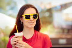Happy Beautiful Woman with Summer Coffee Drink Royalty Free Stock Photo
