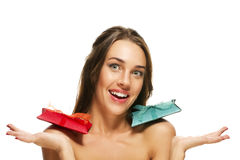 Happy beautiful woman with two presents on her sho Stock Photo