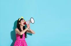 Happy beautiful woman using megaphone speaking Stock Images