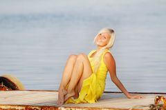 Happy beautiful woman on water background Stock Photography