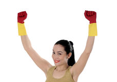 Happy beautiful women after cleaning the house stock images
