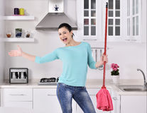Happy beautiful women after cleaning the house Stock Photos