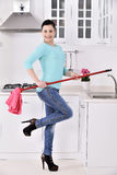 Happy beautiful women after cleaning the house Royalty Free Stock Images