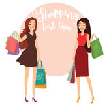 Happy beautiful women with shopping. Two ladys with shopping bags walking on street. Big Sale. Young pretty woman with shopping bag enjoy shopping. Vector Stock Image
