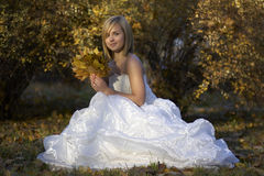 Happy Beautiful young bride in white dress sitting in autumn park among fallen leaves Stock Photo