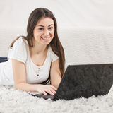 Happy Beautiful Young Student Girl Using Laptop Royalty Free Stock Images