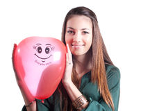 Happy Beautiful Young Woman with air balloon Royalty Free Stock Images