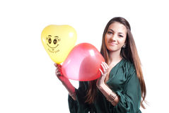 Happy Beautiful Young Woman with airballoons Stock Photography