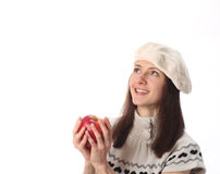 Happy beautiful young woman holding red apple Stock Photos