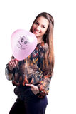 Happy Beautiful Young Woman & I Love You balloon Stock Images