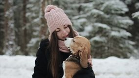 Happy beautiful young woman in pink hat petting a her beagle dog in a winter day. Friendship, pet and human. Candid and. Authentic footage. Winter forest stock video footage