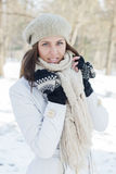 Happy Beautiful Young Woman Winter Saeson Stock Photo