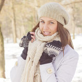 Happy Beautiful Young Woman Winter Saeson Royalty Free Stock Photos