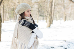 Happy Beautiful Young Woman Winter Saeson Royalty Free Stock Images