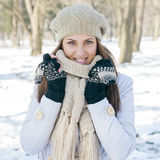 Happy Beautiful Young Woman Winter Saeson Royalty Free Stock Photo