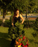 Happy beauty in garden Royalty Free Stock Photos