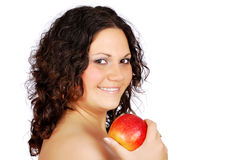 Happy beauty girl with apple Royalty Free Stock Photography