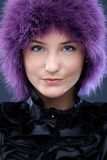 Happy beauty in purple wig Royalty Free Stock Images