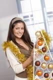 Happy beauty at christmas stock photos