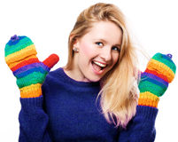 Happy beauty woman in a colorful gloves Stock Images