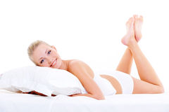 Happy beauty woman with perfect body Royalty Free Stock Images