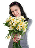 Happy beauty woman with yellow flowers Stock Photography