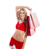 Happy beautyful woman in red santa claus clothes w Stock Photo
