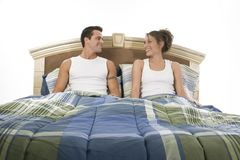 Happy in bed Stock Photos
