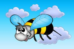 Happy bee. In fly - color illustration Stock Images