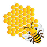 Happy bee and beehive. On white background stock illustration