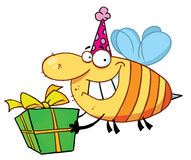 Happy bee carries gift Stock Image