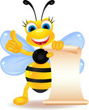 Happy bee cartoon with blank sign Royalty Free Stock Images