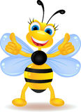 Happy bee cartoon with blank sign