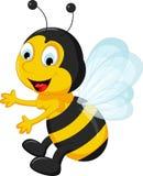 Happy Bee cartoon flying Stock Photo