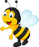 Happy Bee cartoon flying Stock Photos