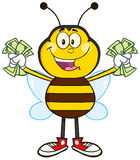 Happy Bee Cartoon Mascot Character With Cash Stock Photography