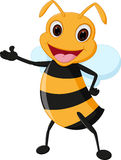 Happy bee cartoon presenting Stock Photos