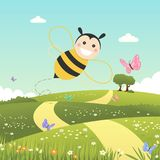 Happy bee flying on a spring day. Vector illustration vector illustration